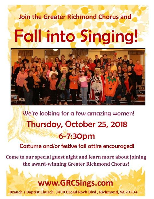 Oct 25- Fall Into Singing Guest Night!